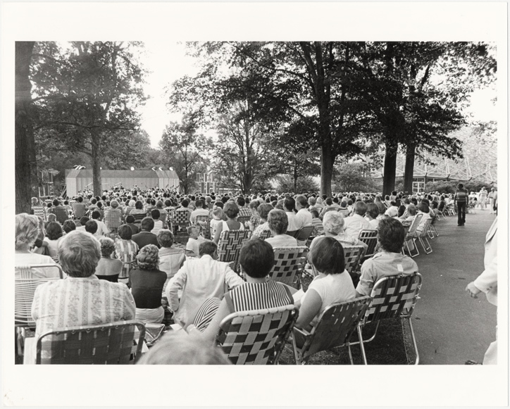 Image of Saint Louis Symphony Orchestra Concert.  Rose Evening at the Garden.  View from the back of the audience