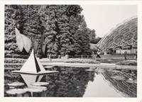 Image of Sculpture Festival. View of sculptures around Lily Pools near Climatron.