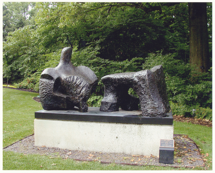 Image of Two-Piece Reclining Figure.  Henry Moore.