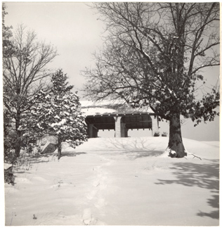 Image of Winter view of Trail House.  Mounted with PHO 2007-1477.