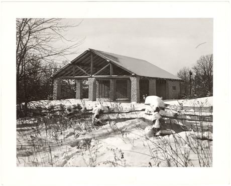 Image of Winter view of Trail House.  Mounted with PHO 2007-1476.