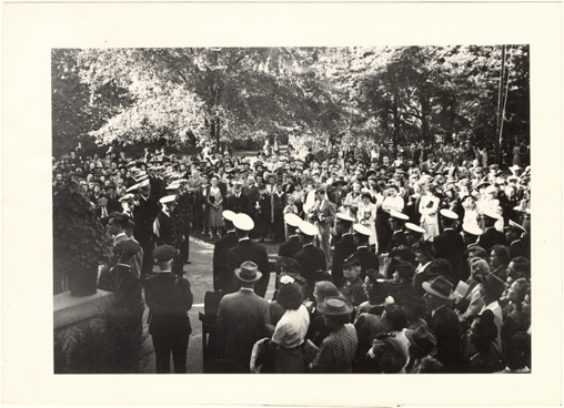Image of Ceremony in front of Tower Grove House.  Mounted with PHO 2007-1498.