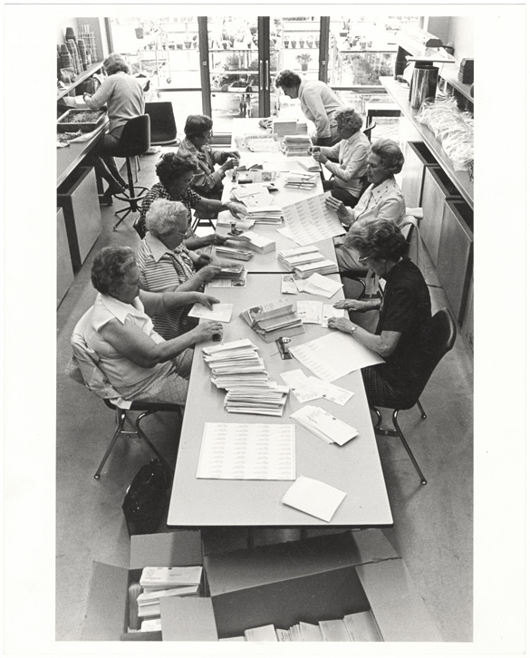 Image of Volunteers working on mailing.