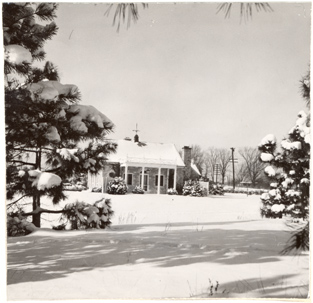 Image of Main gatehouse at Arboretum.  Bulletin Feb. 1951.  Mounted with PHO 2007-1988.