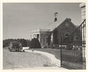 Image of View of gate and house.  Mrs. Beilman.  Late 40's, early 50's.  Negative available at PHO 2007-1991.