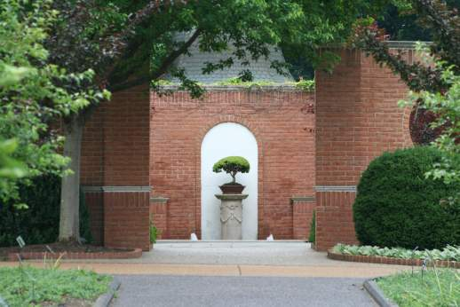 Image of Blanke Boxwood Garden entrance.