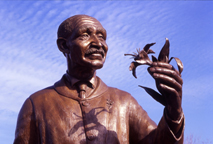 Image of Close up of bronze in the George Washington Carver Garden, Missouri Botanical Garden.