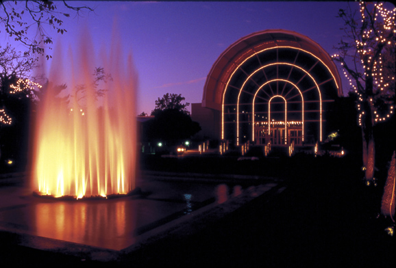 Image of Ridgway Center at night with view of Spoehrer Plaza.