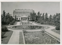 Image of Palm House and main lily pools at the Garden.