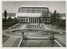Image of Palm House and main lily pools at the Garden. Photo taken August 4, 1927 by Paul Kohl.