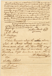 Image of Bill of sale for purchase of female enslaved person, Juliette, by Henry Shaw in 1836. See PHO2020-0029.