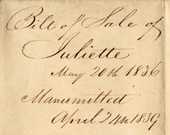 Image of Bill of sale for purchase of female enslaved person, Juliette, by Henry Shaw in 1836. Image is of back of record. See PHO2020-0028.