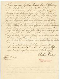 Image of Bill of sale for purchase of female enslaved person, Bridgette, by Henry Shaw in 1838. See PHO2020-0031.