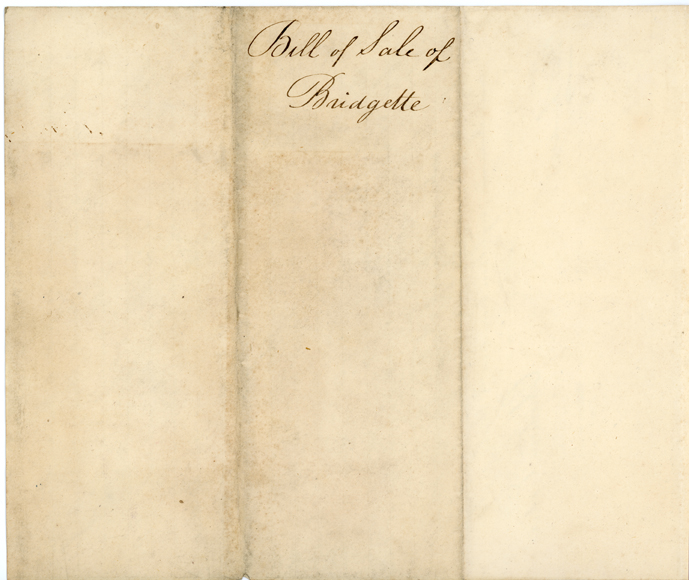 Image of Bill of sale for purchase of female enslaved person, Bridgette, by Henry Shaw in 1838. Back of record. See PHO2020-0030.