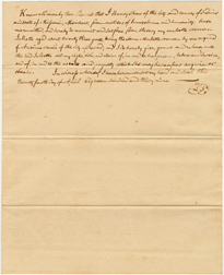 Image of Record of manumission (freeing) of female enslaved person, Juliette, by Henry Shaw in 1839.