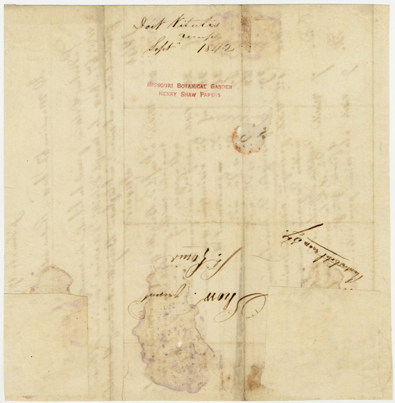 Image of Receipt of doctor visit from a Dr. Vitalis to Henry Shaw for enslaved person Bridgette. Dated September 17, 1842. Back of record. See PHO2020-0034.