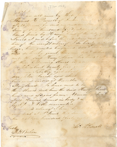 Image of Bill of sale for purchase of enslaved persons Joseph, Tabitha, and her daughter Sarah by Henry Shaw in 1848. See PHO2020-0037.