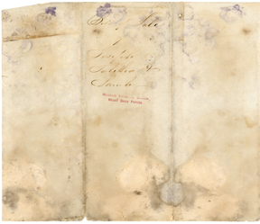 Image of Bill of sale for purchase of enslaved persons Joseph, Tabitha, and her daughter Sarah by Henry Shaw in 1848. Back of record. See PHO2020-0036.
