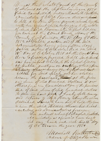 Image of Bill of sale for purchase of enslaved person Sarah and her infant child by Henry Shaw in 1850. See PHO2020-0039.