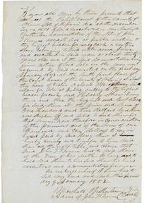 Image of Bill of sale for purchase of enslaved person, Jim, by Henry Shaw in 1852. See PHO2020-0041.