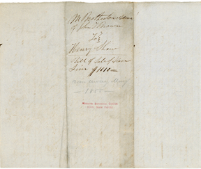 Image of Bill of sale for purchase of enslaved person, Jim, by Henry Shaw in 1852. Back of record. Jim was most likely the unidentified male captured with Esther, her two children, and Mary Meachum in their bid for freedom in May of 1855. See PHO2020-0040.