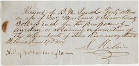 Image of Receipt from bounty hunter, Bernard Lynch to Henry Shaw for tracking and return of escaped enslaved person, Sarah and her child, dated June 17th, 1854.