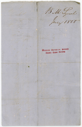 Image of Receipt from bounty hunter, Bernard Lynch to Henry Shaw itemizing costs incurred boarding captive enslaved persons, Sarah and Esther. Costs incurred arresting Esther and her subsequent sale to John D. Fondren of Vicksburg for $350. Dated July  30th, 1855. Back of record. See PHO2020-043.