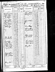 Image of United States Census record for 1860 showing Henry Shaw's ownership of eight enslaved people.