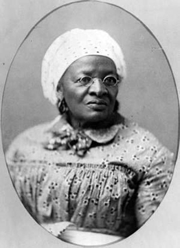 Image of Mary Meachum, wife of John Berry Meachum. She and her husband were both freed persons engaged in the efforts of the Underground Railroad through their church, home, and school. On the early morning of May, 21st of 1855 nine enslaved persons including four owned by Henry Shaw; Esther, her two children, and one unnamed male made their break for freedom utilizing the Underground Railroad with the assistance of Mary Meachum. They attempted crossing the Mississippi River to the free state of Illinois. Unfortunately bounty hunters awaited them and they were soon captured and Mary Meachum would be jailed for the attempt. The location of this historic event on the banks of Mississippi River north of downtown St. Louis is today memorialized as the Mary Meachum Freedom Crossing.