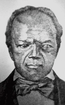 Image of John Berry Meachum, husband of Mary Meachum. He and his wife were both freed persons engaged in the efforts of the Underground Railroad through their church, home, and school. A pastor and founder of the oldest black church in Missouri he was also a skilled carpenter. A trade he taught to those he assisted, a skill that afforded him income to help free enslaved people by buying their freedom. As an educator he operated a school which taught both free and enslaved black students. When the state of Missouri banned all education for blacks in 1847 he circumvented the law by teaching classes on a steamboat on the Mississippi River. The efforts of John and Mary Meachum are today celebrated with the Mary Meachum Freedom Crossing.