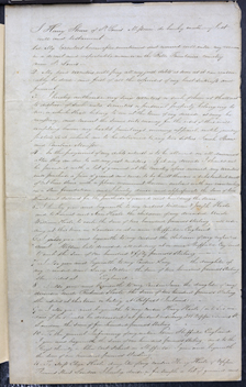 Image of Page one of Henry Shaw's voided will from May 12, 1851. The will was voided on November 18, 1861.