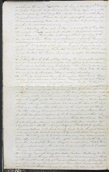 Image of Page two of Henry Shaw's voided will from May 12, 1851. The will was voided on November 18, 1861.