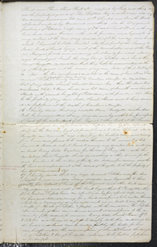 Image of Page three of Henry Shaw's voided will from May 12, 1851. The will was voided on November 18, 1861.