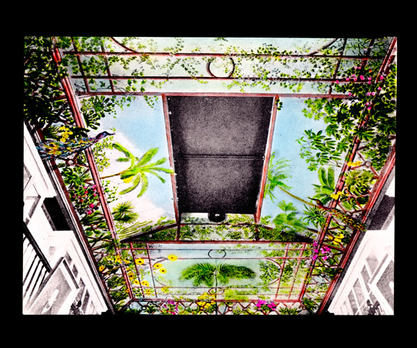 Image of Ceiling of Museum as restored in 1930 by Capt. Henry Moss.   Image taken from partially hand colored black and white slide.  Print available at PHO 2006-2756.