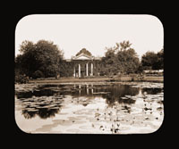 Image of Interior view of the Main Gate as viewed from across lily pond, view looking to the east.