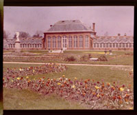 Image of Front view of the Main Conservatory (1868-1916) and Juno in 1911.  Image taken from color magic lantern slide.