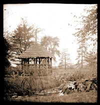 Image of Arboretum pond and gazebo c.1900.