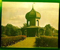 Image of Observatory in the Main Garden in 1909.  Color magic lantern slide