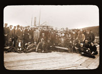 Image of Harriman group portrait in Kodiak, Alaska.  Harriman Alaska Expedition, 1899.  Curtis, photographer.  Print available at PHO 2007-0185.  Negative available at PHO 2007-0186.