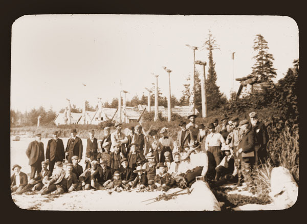 Image of Group portrait of the Harriman Party at Cape Fox Village. Harriman Alaska Expedition, 1899