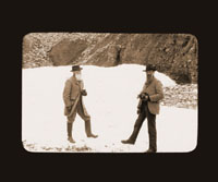 Image of John Burroughs (left) & John Muir (right) in  Alaska.  Harriman Alaska Expedition, 1899.  Negative available at PHO 2007-0189.