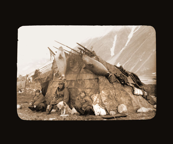 Image of Innuit house at Plover Bay.  Harriman Alaska Expedition, 1899.  Curtis, photographer.