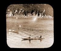 Image of Bidarka and Yakutat Canoe.  Kodiak, Alaska.  Harriman Alaska Expedition, 1899.
