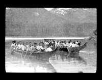 Image of Alaskan War Canoes.  Harriman Alaska Expedition, 1899.