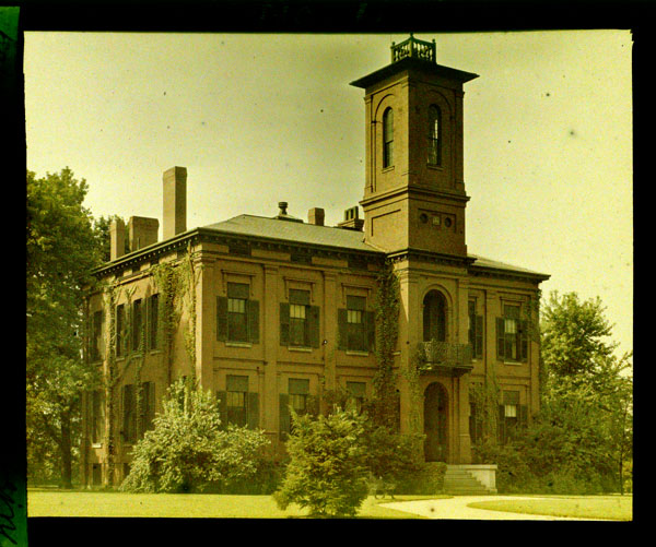 Image of Tower Grove House residence.  Shows the brick Tower Grove House in color.  Color magic lantern slide.