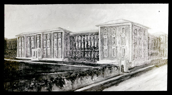 Image of Drawing of a possible addition to the rear of the administration building.