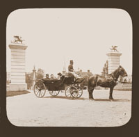 Image of Henry Shaw in his carriage at entrance to Tower Grove Park.