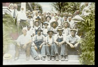 Image of Hand-colored photo with James Gurney in upper left corner. Several gardeners seated, with others staff standing behind.  NOT the same as Gpp 1981-0013 or GPN 1982-0334 or GPP 1982-0335.