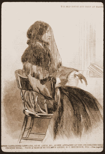 Image of Sepia slide of Effie Carstang portrait from New York Illustrated News.  April 5, 1860. Page 328